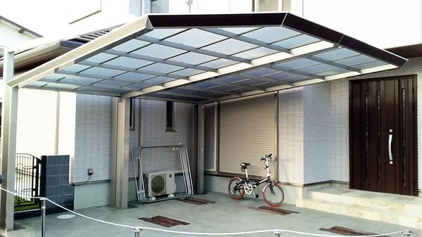 大阪府岸和田市で2台用カーポート工事