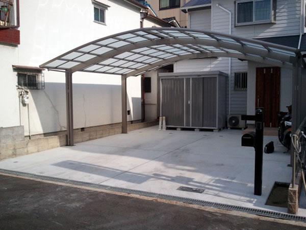 大阪府大阪市にて施工した大型カーポート